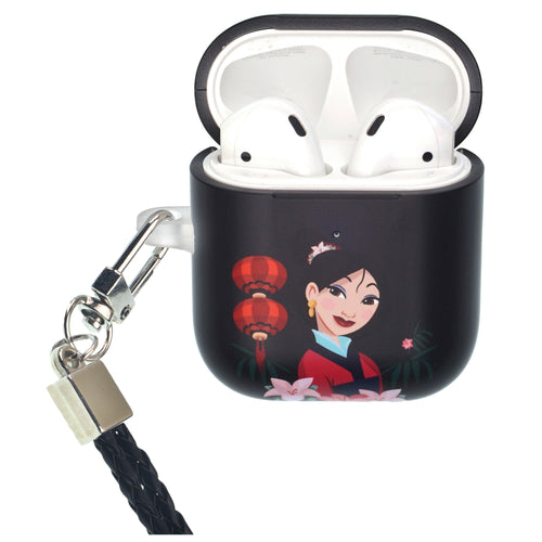 Disney AirPods Case Neck Lanyard Protective Hard PC Shell Strap Hole Cover - Mulan Light