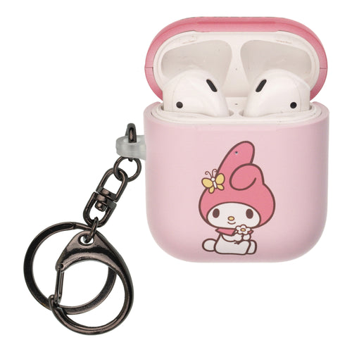 Sanrio AirPods Case Key Ring Keychain Key Holder Hard PC Shell Strap Hole Cover [Front LED Visible] - My Melody