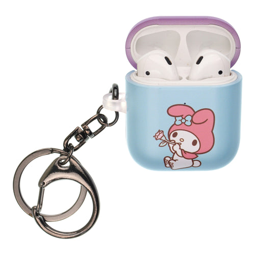 Sanrio AirPods Case Key Ring Keychain Key Holder Hard PC Shell Strap Hole Cover [Front LED Visible] - My Melody Blowing