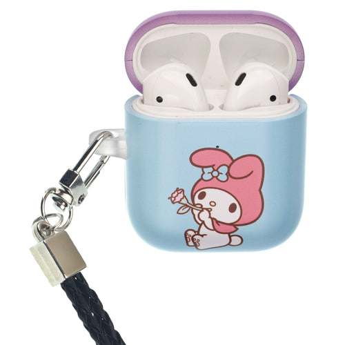 Sanrio AirPods Case Neck Lanyard Protective Hard PC Shell Strap Hole Cover - My Melody Blowing