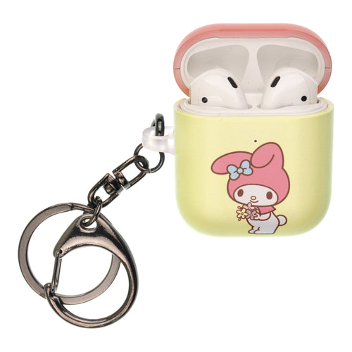 Sanrio AirPods Case Key Ring Keychain Key Holder Hard PC Shell Strap Hole Cover [Front LED Visible] - My Melody Bouquet