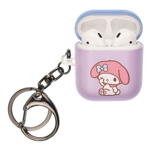 Sanrio AirPods Case Key Ring Keychain Key Holder Hard PC Shell Strap Hole Cover [Front LED Visible] - My Melody Rubbing