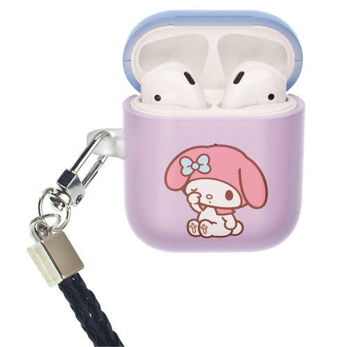 Sanrio AirPods Case Neck Lanyard Protective Hard PC Shell Strap Hole Cover - My Melody Rubbing