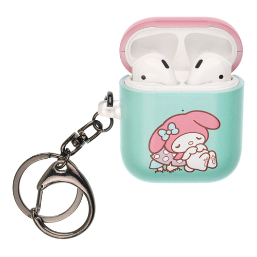 Sanrio AirPods Case Key Ring Keychain Key Holder Hard PC Shell Strap Hole Cover [Front LED Visible] - My Melody Sleeping