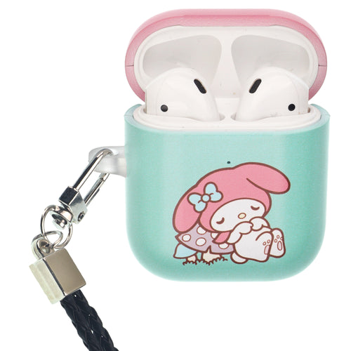 Sanrio AirPods Case Neck Lanyard Protective Hard PC Shell Strap Hole Cover - My Melody Sleeping