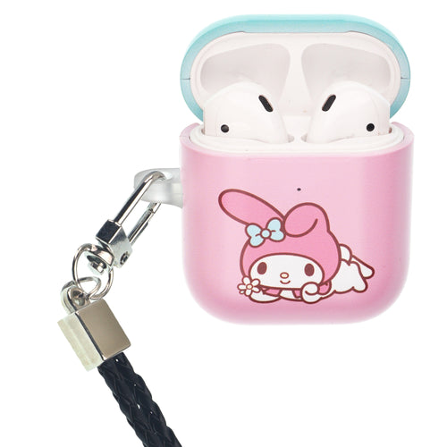 Sanrio AirPods Case Neck Lanyard Protective Hard PC Shell Strap Hole Cover - My Melody Watching