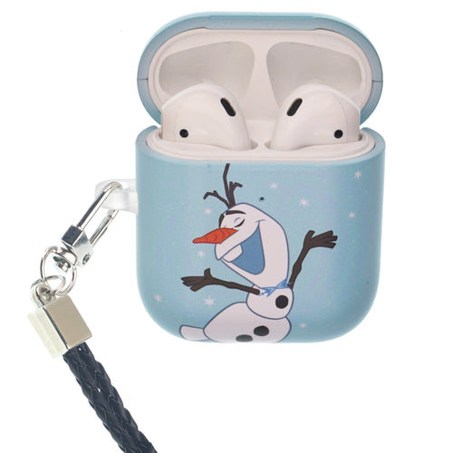 Disney Frozen AirPods Case Neck Lanyard Protective Hard PC Shell Strap Hole Cover - Olaf Dance