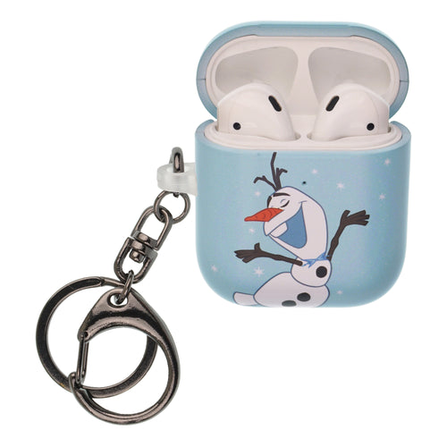 Disney Frozen AirPods Case Key Ring Keychain Key Holder Hard PC Shell Strap Hole Cover [Front LED Visible] - Olaf Dance