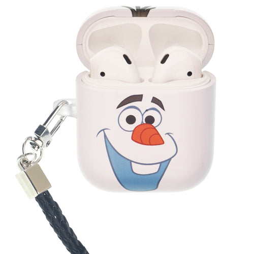 Disney Frozen AirPods Case Neck Lanyard Protective Hard PC Shell Strap Hole Cover - Olaf Face