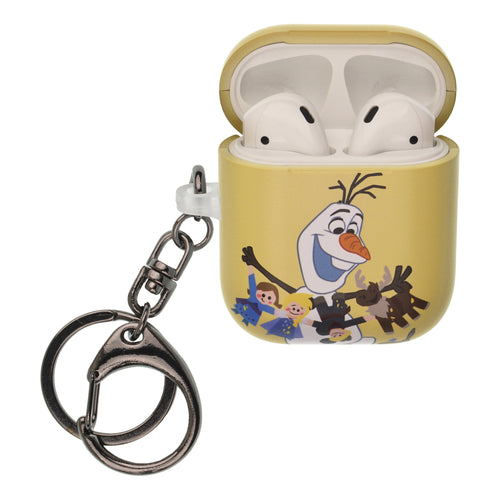 Disney Frozen AirPods Case Key Ring Keychain Key Holder Hard PC Shell Strap Hole Cover [Front LED Visible] - Olaf Paper Doll
