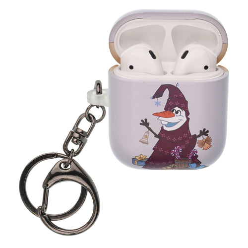 Disney Frozen AirPods Case Key Ring Keychain Key Holder Hard PC Shell Strap Hole Cover [Front LED Visible] - Olaf Tree