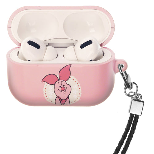 Disney AirPods Pro Case Neck Lanyard Hard PC Shell Strap Hole Cover - Piglet