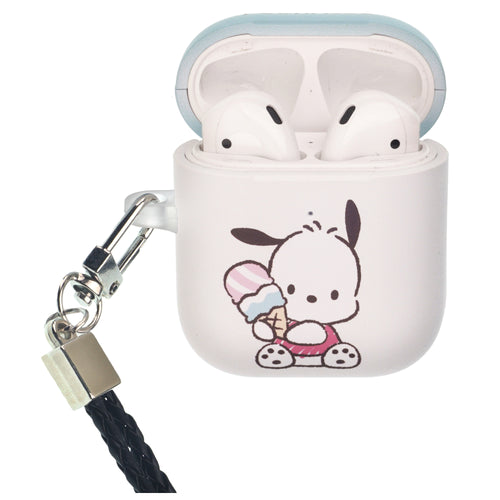 Sanrio AirPods Case Neck Lanyard Protective Hard PC Shell Strap Hole Cover - Pochacco