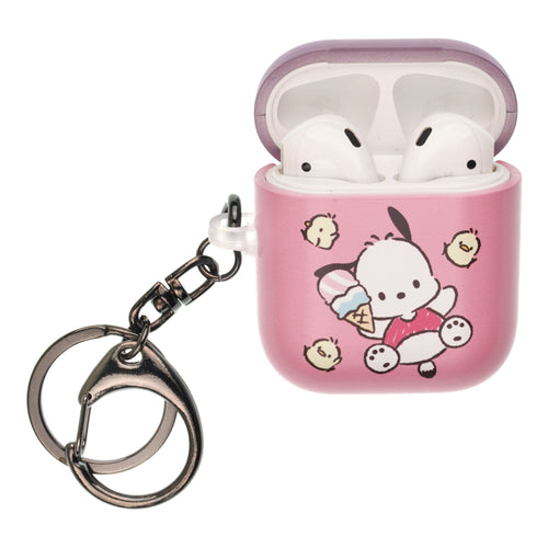 Sanrio AirPods Case Key Ring Keychain Key Holder Hard PC Shell Strap Hole Cover [Front LED Visible] - Pochacco Jump