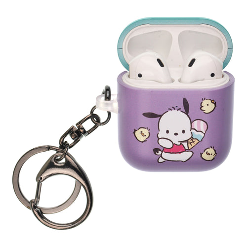 Sanrio AirPods Case Key Ring Keychain Key Holder Hard PC Shell Strap Hole Cover [Front LED Visible] - Pochacco Run
