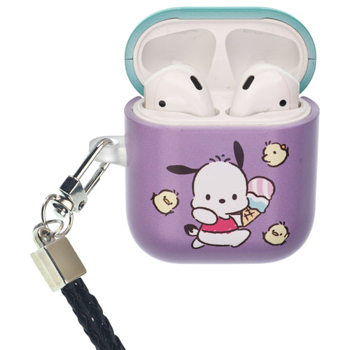 Sanrio AirPods Case Neck Lanyard Protective Hard PC Shell Strap Hole Cover - Pochacco Run
