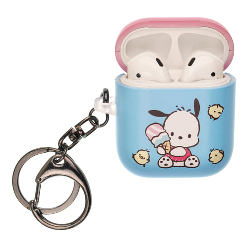 Sanrio AirPods Case Key Ring Keychain Key Holder Hard PC Shell Strap Hole Cover [Front LED Visible] - Pochacco Sit