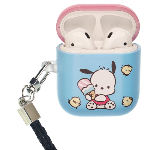 Sanrio AirPods Case Neck Lanyard Protective Hard PC Shell Strap Hole Cover - Pochacco Sit
