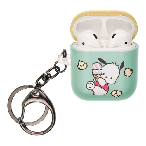 Sanrio AirPods Case Key Ring Keychain Key Holder Hard PC Shell Strap Hole Cover [Front LED Visible] - Pochacco Slip
