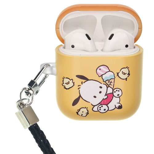 Sanrio AirPods Case Neck Lanyard Protective Hard PC Shell Strap Hole Cover - Pochacco Tilt
