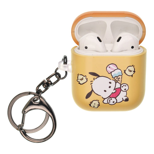 Sanrio AirPods Case Key Ring Keychain Key Holder Hard PC Shell Strap Hole Cover [Front LED Visible] - Pochacco Tilt
