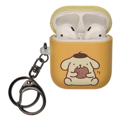 Sanrio AirPods Case Key Ring Keychain Key Holder Hard PC Shell Strap Hole Cover [Front LED Visible] - Pompompurin
