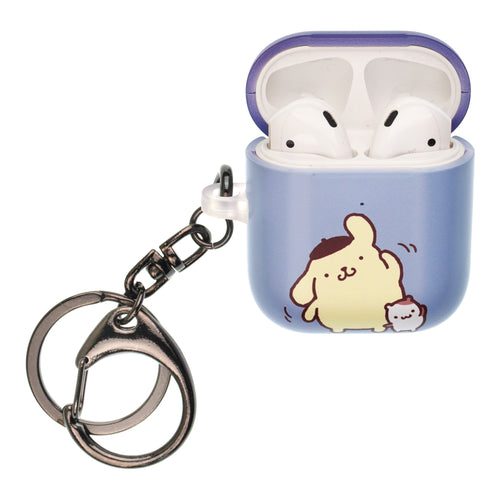 Sanrio AirPods Case Key Ring Keychain Key Holder Hard PC Shell Strap Hole Cover [Front LED Visible] - Pompompurin Exercise