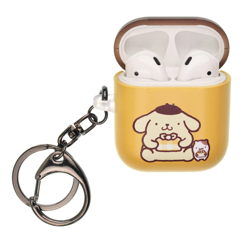 Sanrio AirPods Case Key Ring Keychain Key Holder Hard PC Shell Strap Hole Cover [Front LED Visible] - Pompompurin Gift