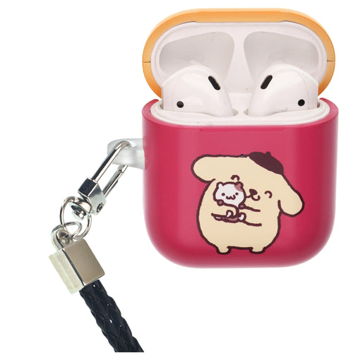 Sanrio AirPods Case Neck Lanyard Protective Hard PC Shell Strap Hole Cover - Pompompurin Hug