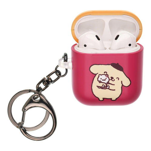 Sanrio AirPods Case Key Ring Keychain Key Holder Hard PC Shell Strap Hole Cover [Front LED Visible] - Pompompurin Hug
