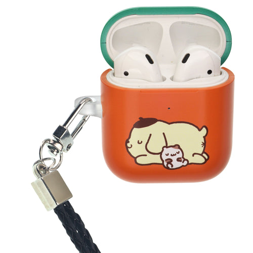 Sanrio AirPods Case Neck Lanyard Protective Hard PC Shell Strap Hole Cover - Pompompurin Sleeping