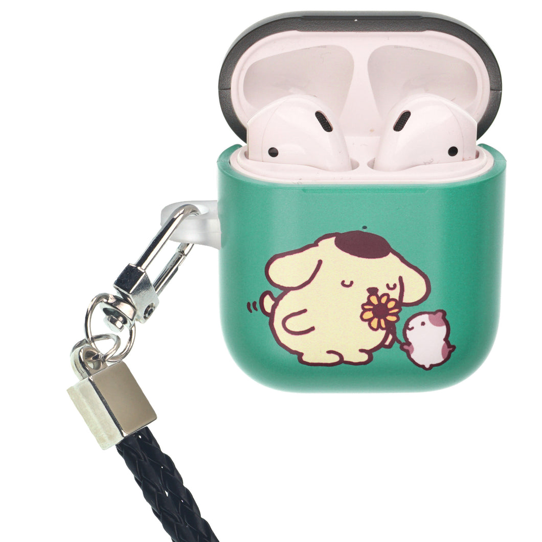 Sanrio AirPods Case Neck Lanyard Protective Hard PC Shell Strap Hole Cover - Pompompurin Smell