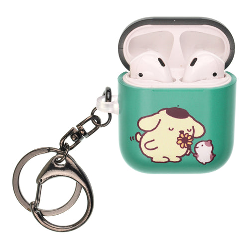 Sanrio AirPods Case Key Ring Keychain Key Holder Hard PC Shell Strap Hole Cover [Front LED Visible] - Pompompurin Smell