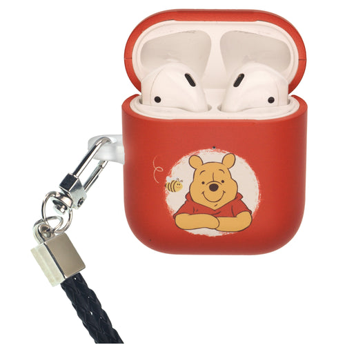 Disney AirPods Case Neck Lanyard Protective Hard PC Shell Strap Hole Cover - Pooh Red