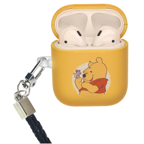 Disney AirPods Case Neck Lanyard Protective Hard PC Shell Strap Hole Cover - Pooh Yellow