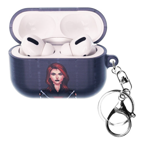 Marvel Avengers AirPods Pro Case Key Ring Keychain Key Holder Hard PC Shell Strap Hole Cover - Round Black Widow