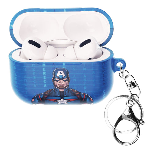 Marvel Avengers AirPods Pro Case Key Ring Keychain Key Holder Hard PC Shell Strap Hole Cover - Round Captain America