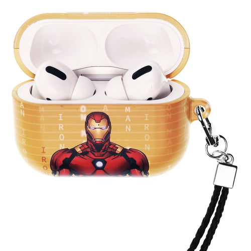 Marvel Avengers AirPods Pro Case Neck Lanyard Hard PC Shell Strap Hole Cover - Round Iron Man
