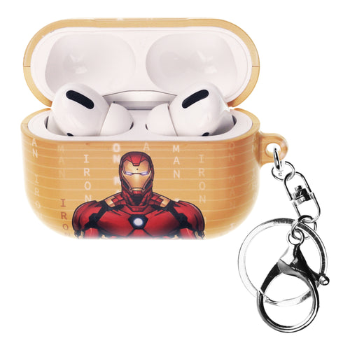 Marvel Avengers AirPods Pro Case Key Ring Keychain Key Holder Hard PC Shell Strap Hole Cover - Round Iron Man