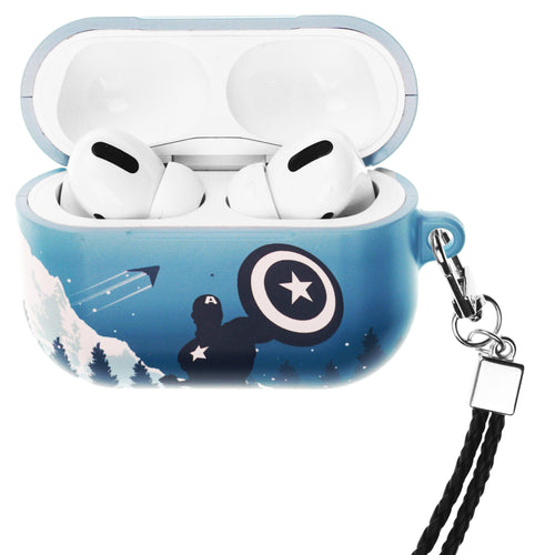 Marvel Avengers AirPods Pro Case Neck Lanyard Hard PC Shell Strap Hole Cover - Shadow Captain America