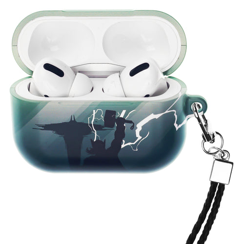 Marvel Avengers AirPods Pro Case Neck Lanyard Hard PC Shell Strap Hole Cover - Shadow Thor