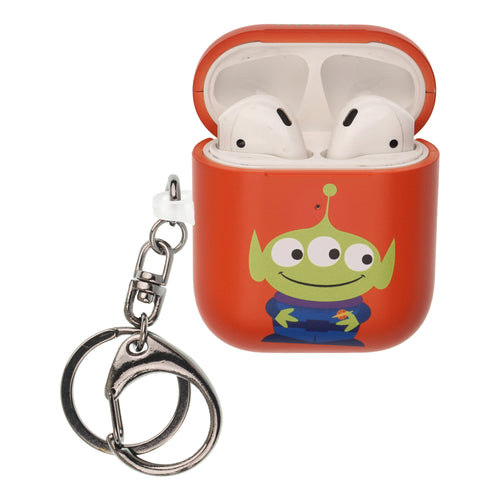 Toy Story 4 AirPods Case Key Ring Keychain Key Holder Hard PC Shell Strap Hole Cover [Front LED Visible] - Simple Alien