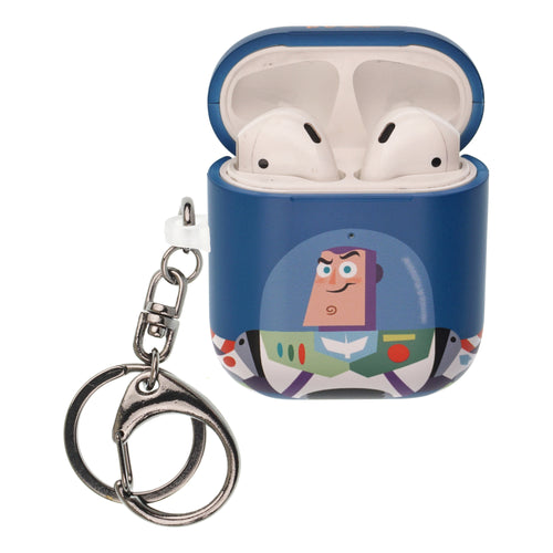 Toy Story 4 AirPods Case Key Ring Keychain Key Holder Hard PC Shell Strap Hole Cover [Front LED Visible] - Simple Buzz