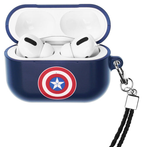 Marvel Avengers AirPods Pro Case Neck Lanyard Hard PC Shell Strap Hole Cover - Simple Captain America