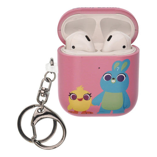 Toy Story 4 AirPods Case Key Ring Keychain Key Holder Hard PC Shell Strap Hole Cover [Front LED Visible] - Simple Ducky Bunny