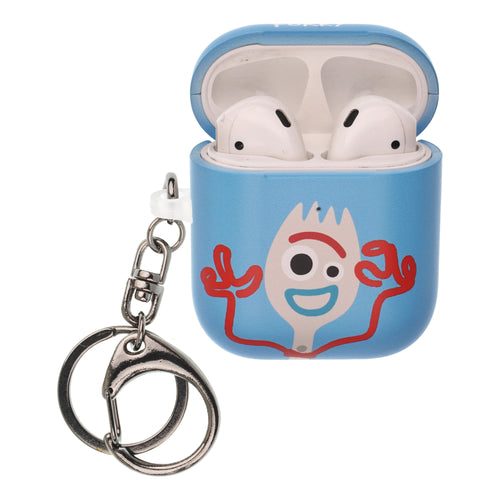 Toy Story 4 AirPods Case Key Ring Keychain Key Holder Hard PC Shell Strap Hole Cover [Front LED Visible] - Simple Forky