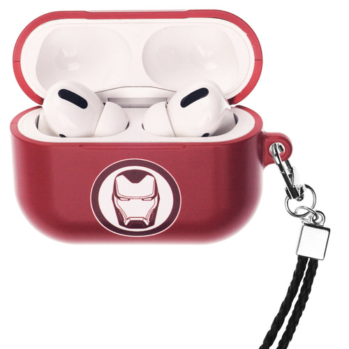 Marvel Avengers AirPods Pro Case Neck Lanyard Hard PC Shell Strap Hole Cover - Simple Iron Man