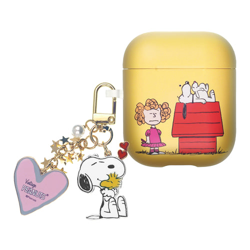 Peanuts AirPods Case Snoopy Key Ring Keychain Key Holder Hard PC Shell Strap Hole Cover Accessories - With Snoopy House