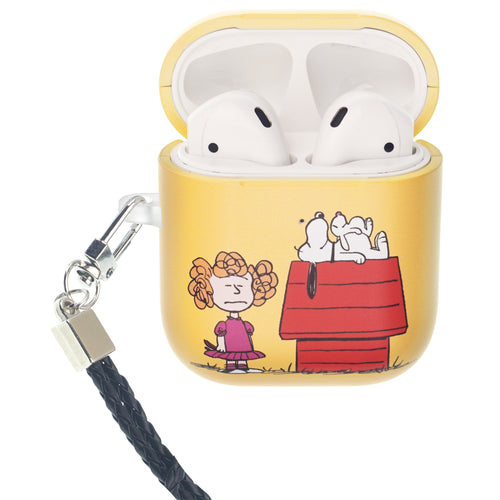 Peanuts AirPods Case Neck Lanyard Hard PC Shell Strap Hole Cover - With Snoopy House