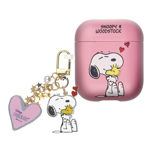 Peanuts AirPods Case Snoopy Key Ring Keychain Key Holder Hard PC Shell Strap Hole Cover Accessories - Happy Snoopy Hug